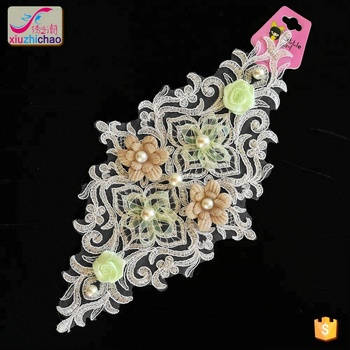 new new design ivory beads 3D design flower patter applique