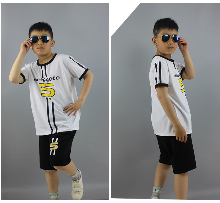 Wholesale Summer Cotton Oversize 2pcs Boys Tracksuit Child Summer Soccer Suit