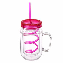 Best selling colorful health food grade drinking plastic double wall private label mason jar with lid and straw wholesale