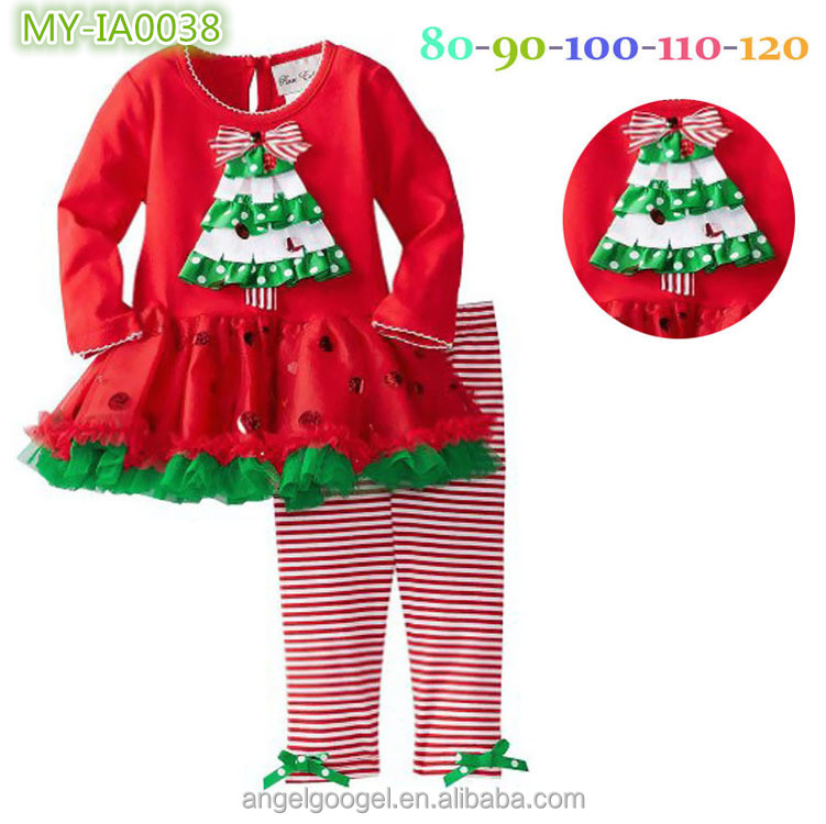 Clothing set wace ruffle spanish baby christmas clothes for kids wear