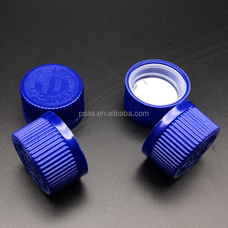 Child proof plastic type CRC cap push down turn child resist lid for medicine, drug use
