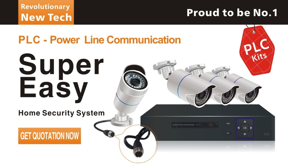 Vandsec New Products! PLC - Power Line Communication 4CH NVR Kit Home Security CCTV camera system
