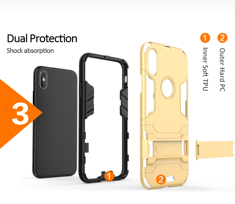 Wholesale Hot Selling Iron Bear Hybrid TPU PC Protective Kickstand Ultra thin mobile phone case cover for Huawei Y9 2019 case