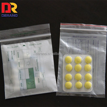 China Clear LDPE Plastic Double Pouch Medicine Zip Lock Bag For Pill Packaging