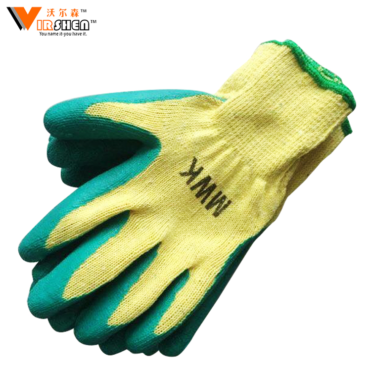 13G blue latex coated work gloves, rubber coated cotton gloves nitrile coated work gloves,rubber coated work gloves/guantes 0184
