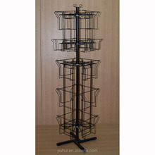 American style 24 pocket metal calendar display rack with sign holder
