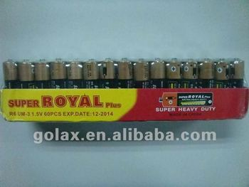 super royal plus 1.5V aa/aaa tray box carbon zinc dry battery cell
