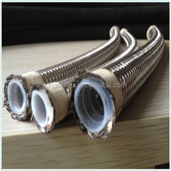 3/4 Inch Convoluted Stainless Steel Braided Smooth Bore PTFE Teflon Hose