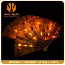 Led Light Up Silk Fan for Party Event,Make Chinese Paper Fans Glow in the dark Silk Fan