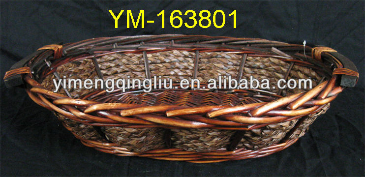 Oval Rattan Wicker Basket Tray with Wooden Handle