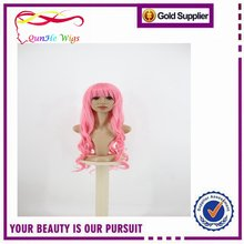 Hot Selling New Fashion Womens Long Wavy Curly Wig Hair Pink Cosplay wig