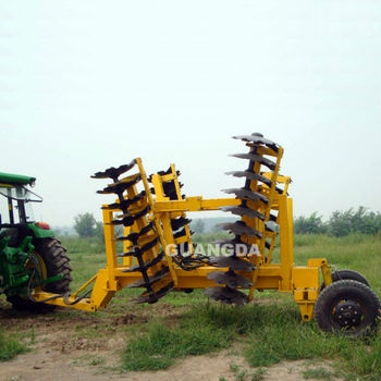 Folding disc harrow tractor implements