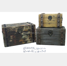 Shabby Chic Fir Wood Oil Painting Painted Wooden Trunks
