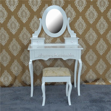 Mirror furniture antique solid wood white beauty dressing table for house