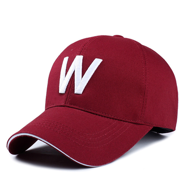 Wholesale men and women outdoor casual cotton baseball cap with embroidery letter W