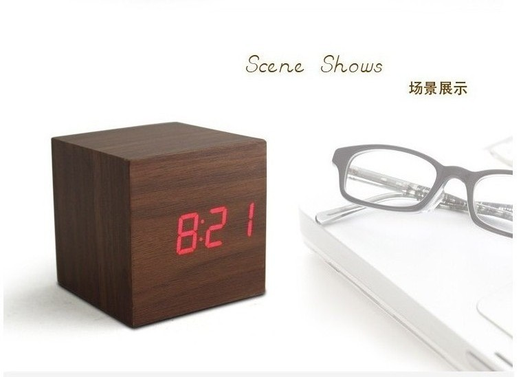 Alarm Clock Multicolor LED Digital Wooden Clock Square Style Fashion