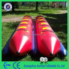 colorful side by side 10 people flying banana boat/inflatable boat with 0.9mm PVC tarpulin material