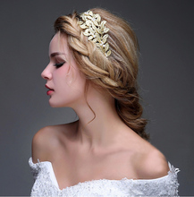 Golden Plated Hair Accessories Wedding Tiara Headband Leaves Tiara <strong>Crown</strong> for Bride
