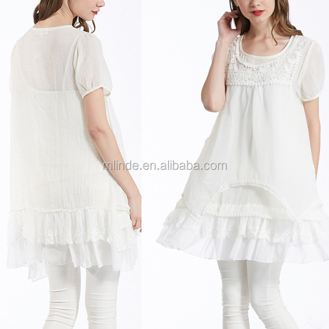Summer Women Cool Breath White Crochet-Accent Ruffle-Tier Tunic Simply Couture Blouses Ladies Tops Wholesale Custom