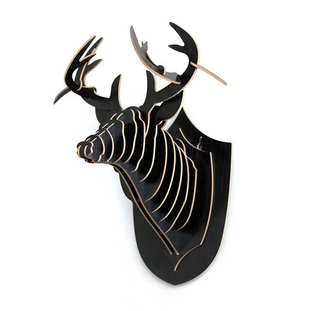 new design carved 3d wood animal head home wall decoration
