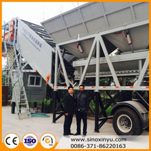 Small capacity 25m3/H mobile cement batch mixing mini concrete plant in philippines
