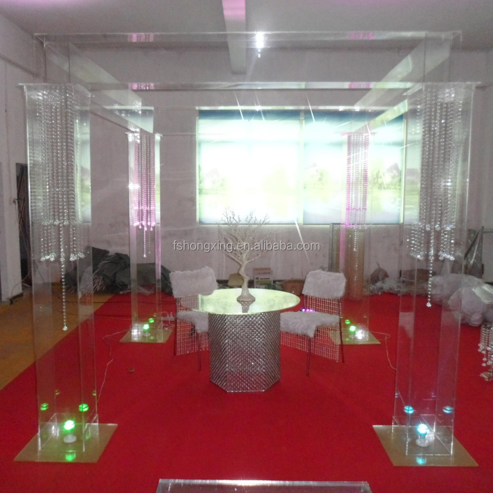 Lucite Acrylic Clear Wedding Square Chuppah Tent Structure for event decor