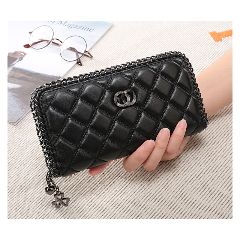 2019 New Design Fashion Diamond Sheepskin Ladies Long Purse Wallets Female Zipper Clutch Wallet Card Holder