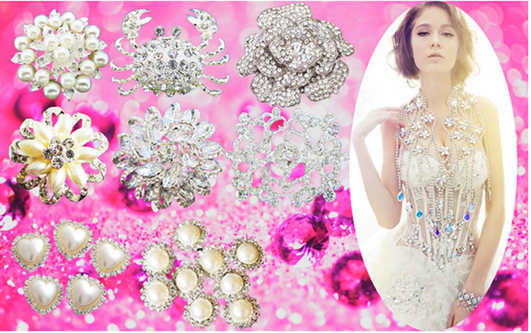 New Fashion Cheap Rhinestone pearl brooch for wedding in bulk