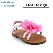 Girls children flower summer beach flat sandals party ruffled peep toe shoe