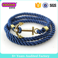 Handmade Blue Nautical Anchor Bracelet, Twisted Silk Rope Knot Bracelet for Men #B320
