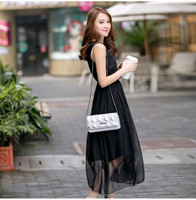 The latest summer autumn pleated long casual dress for young girls