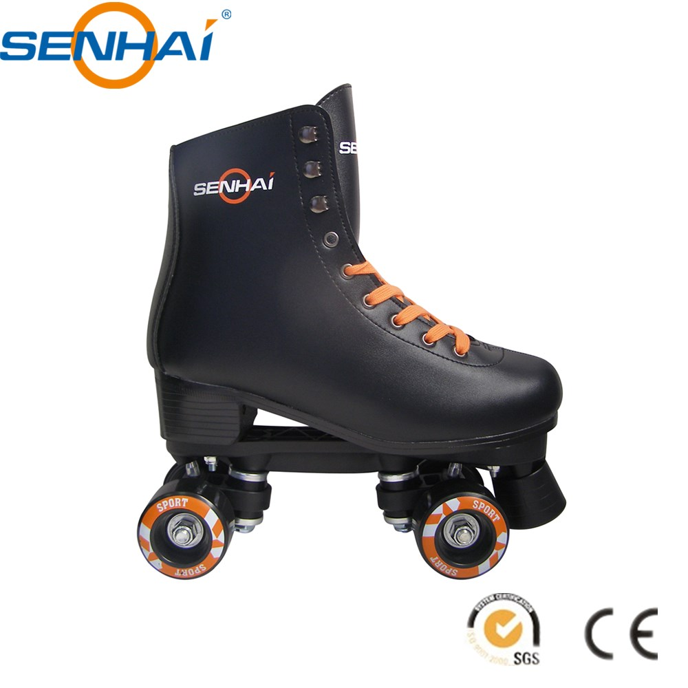 Figure Roller Skate Shoes Women Girl Skating Shoes Quad Roller Shoes PVC Boot Black and White Optional