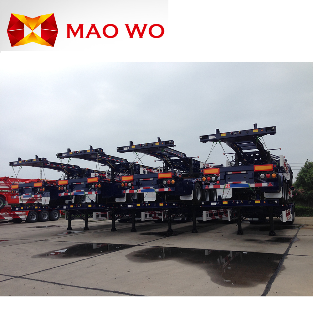Top Ranking 2-3 Axles 20-40ft Trailers or Container Semi Trucks or Skeleton semi trailer container chassis for Exporting