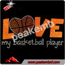 Love My Basketball Player Iron On Bling Transfers Sports Wholesale Rhinestone For Ts