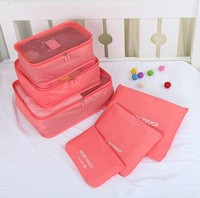 6Pcs Waterproof Pouch Suit Clothes Bra Storage Bags Packing Cubes Travelling Holiday Breathable Carry on Suitcase watermelon Red