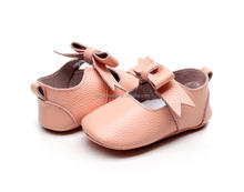 2017 new arrival peach color adult baby bow shoes baby shoes kids cheap soft baby shoes
