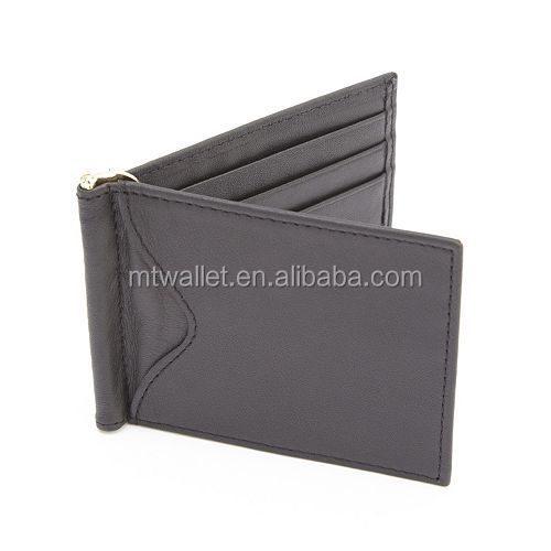 Customized gent bifold split genuine leather spring money clip wallet 100% handmade for holding cash and credit cards rfid