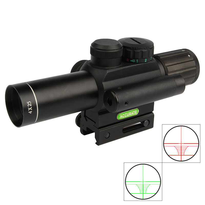 M6 4X25EG Rifle scope Red/Green Illuminated Hunting Rifle Scope with 20mm Mount and red laser