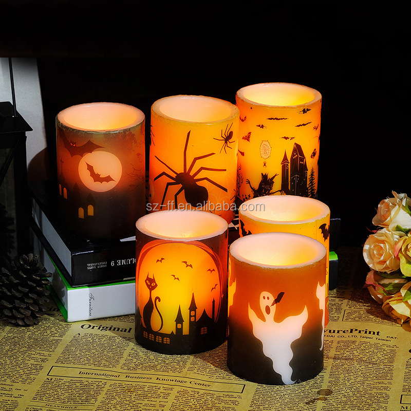 Wholesaleled all saint day LED Candles, Black Cat Pattern LED Candle