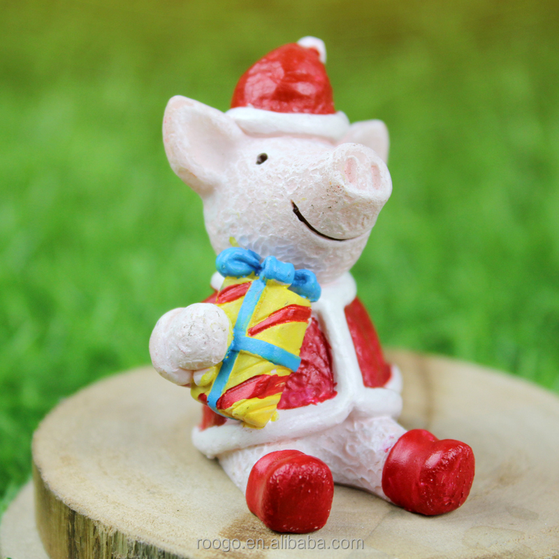ROOGO Zakka funny christmas resin live peppa animal pig statues decoration
