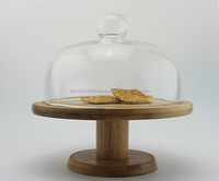 Bamboo Cake/Bread/Cheese stand with dome