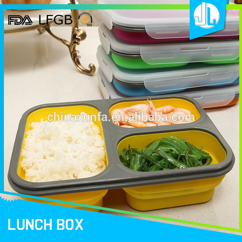 Hot selling cheap silicone portable office 3 compartment storage containers