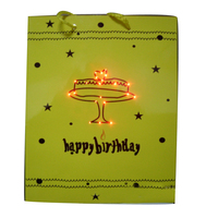 Led light fiber optic flashing birthday gift bags