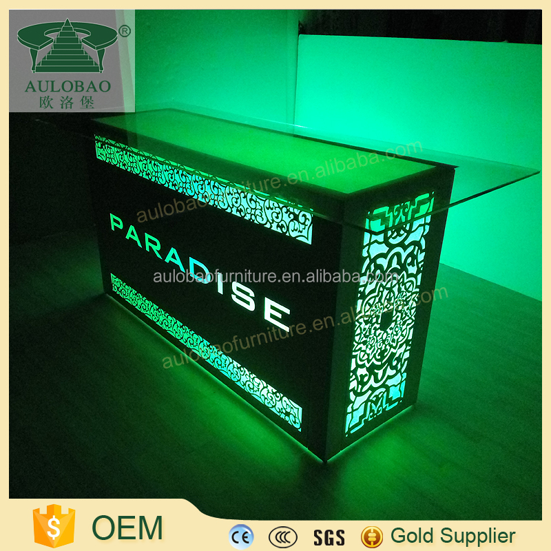Glass stainless steel led light up hotel reception design furniture for hotel recept