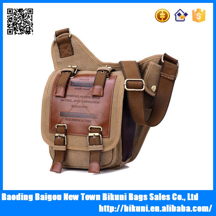 Wholesale high quality hot sale shoulder messenger bags men canvas bags for riding