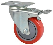 Swivel/Fixed caster Spring retractable casters red PU truckle with spring heavy duty double brake wheel