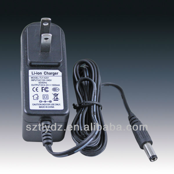manufacturing 4.2V 1A US Plug Lithium battery charger