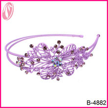 Fashion Elegant purple metal hairband with diamond for prom