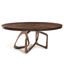 Iregular shape brass color stainless steel legs walnut coffee table round