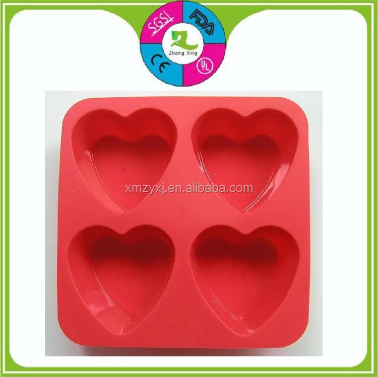 En forma de coraz n 4 cavidades de silicona torta dulce - Moldes de silicona para horno ...